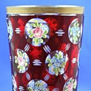 Antique Biedermeier Bohemian ruby to clear glass goblet beaker intaglio