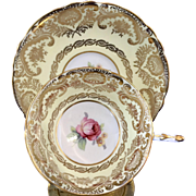 Paragon cup + saucer set yellow  with pink rose lots of gilding