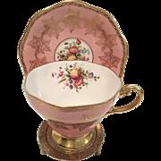 Vintage Foley EB Pink Floral with Heavy Gold Rose Design Tea Cup & Saucer