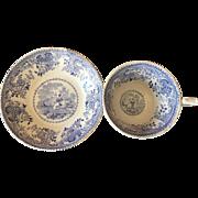Antique Staffordshire cup and saucer blue transferware transfer ware Minstrel pattern- Taj Mahal Oriental scene