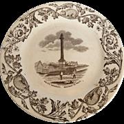 Antique 19 C. F.T Thomas Furnival brown transfer ware plate Wolfe's monument  Quebec Memorabilia