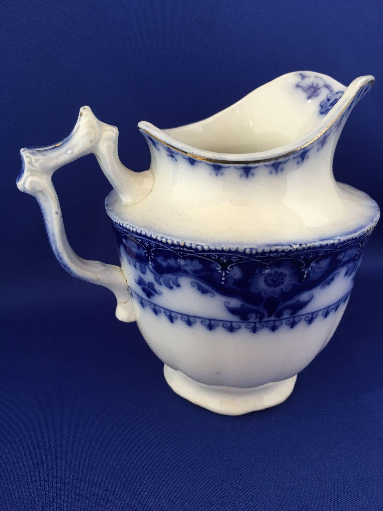 St Louis Taxi >> Flow blue Crumlin Jug pitcher creamer by Myott from ...