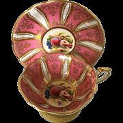 Paragon pink+ gold paneled fruit harvest teacup tea cup and saucer - double warrants