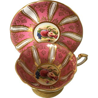 Paragon pink+ gold paneled fruit harvest teacup tea cup and saucer - double warrants
