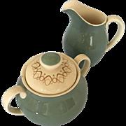 Royal Doulton Desert Star creamer, sugar bowl and lid