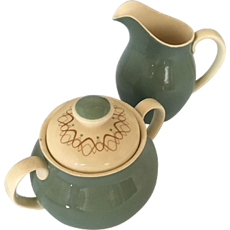 Royal Doulton Desert Star creamer, sugar bowl and lid
