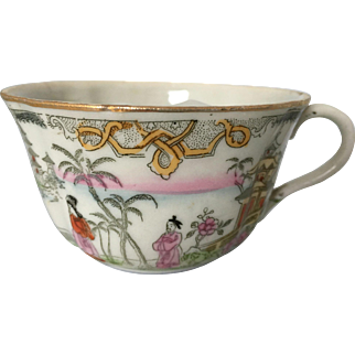 Antique Chinese  Asian- Oriental mustache cup - pagoda- classical scene