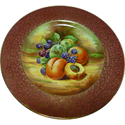 """Royal Winton Grimwades """"FRUIT"""" red cabinet plate- hand painted -E. Harper"""