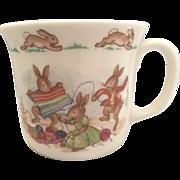 """Bunnykins 1 handle hug a mug cup  Royal Doulton  3""""  unravel knitting"""