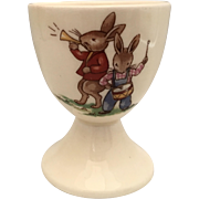 """Bunnykins footed egg  cup  Royal Doulton  2 7/8""""  -drum and bugler"""