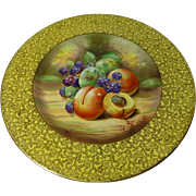 """royal Winton Grimwades """"FRUIT"""" yellow cabinet plate- hand painted -E. Harper"""