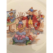 "Bunnykins rabbit artist painting plate Royal Doulton  7 1/2 "" Portrait painter"