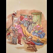 "Bunnykins dressing up  fruit, dessert bowl- rimmed Royal Doulton  6 1/2 "" mirror  veil  top hat scarce"