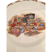 Bunnykins rabbit luncheon plate Royal Doulton   9 inches- Geography lesson professor blackboard students