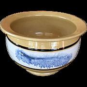 19C antique mocha ware mocha ware chamber pot  blue seaweed