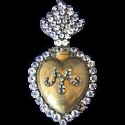Antique ex voto relic reliquary flaming heart  19 century