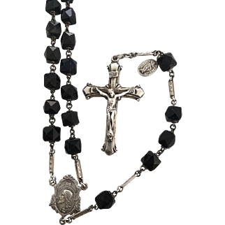 Black Rock crystal and sterling silver GLORIA rosary chaplet