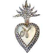 Antique ex voto relic reliquary mother of pearl flaming heart -LARGE