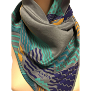 Lanvin Paris sophisticated artistic geometrical silk scarf turquoise and gold