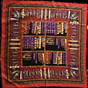 Andre Claude Canova silk scarf Indian elephants books library