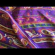 Oscar de la Renta long purple paisley silk scarf