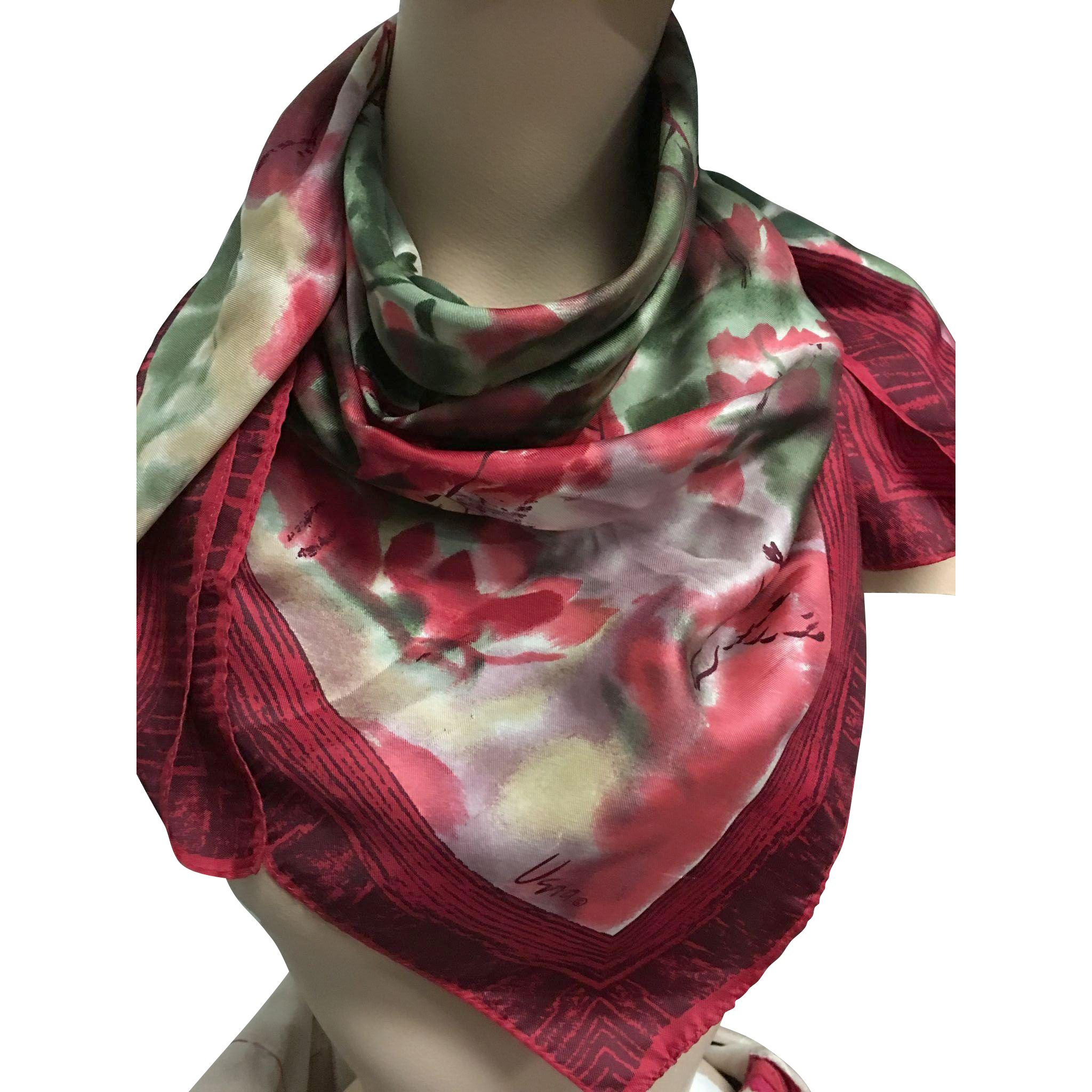 Vera large red silk scarf green trees