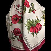 Vintage carré silk scarf Hermes  Quai aux Fleurs- Fuschia- Hugo Grykar 1952
