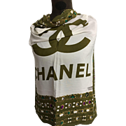 Chanel scarf 100% silk green gold chain with jewels