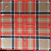Vera scarf vintage checkered squares plaid red blue beige