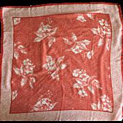 Saldarini vintage red amaryllis silk scarf
