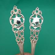 Antique HOWARD sterling silver 2 large PIERCED serving spoons YORK  1898