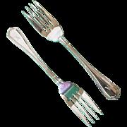 2 Salad forks Birks sterling silver Georgian