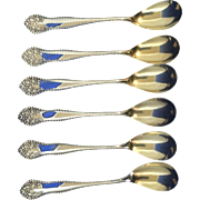 Egg spoons gold wash BIRKS Lancaster Rose silverplate- like Gorham