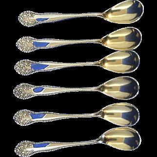 Egg spoons gold wash BIRKS Lancaster Rose silverplate- like Gorham