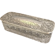 Birks STERLING SILVER domed lid and glass vanity box case with scrolling-vintage-