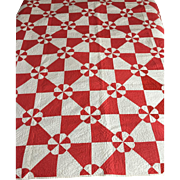 Vintage 1940's red and white windmill quilt -perfect- all hand stitched