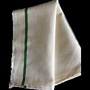 Green striped French torchon tea /kitchen towel- herringbone cotton