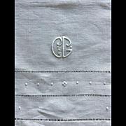 Fancy French linen tea / kitchen hand towel monogram CG Antique