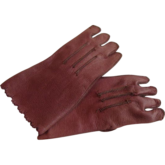 """Ashes of Roses"" Leather Gloves for French Bisque Doll!"