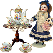 RARE Miniature Porcelaine de Paris Tea Set With SERVING TRAY for your French Doll!