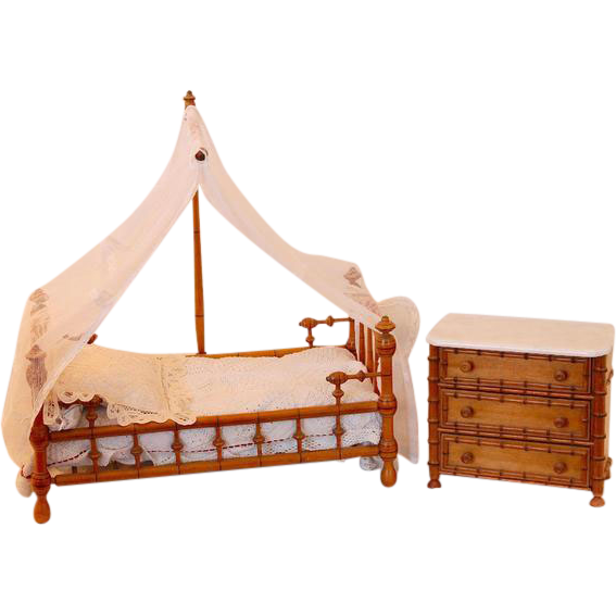 magnificent french faux bamboo canopy doll bed complete. Black Bedroom Furniture Sets. Home Design Ideas