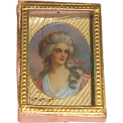 Hand Painted Limoges Portrait in Glass Lidded Presentation Box - Red Tag Sale Item