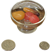 Miniature French Mouth Blown Glass Fruit Compote with Wax Fruit for Your Antique Doll!
