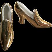 Gold Porcelain Miniature German Slippers for Doll Scene!