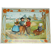 Dutch Friends!  LARGE Trade Card from AuBonMarche!