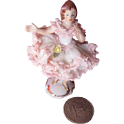 Tiny Dresden Porcelain Lace Figurine!
