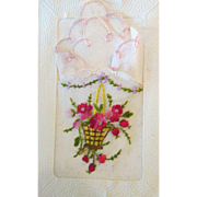 Gorgeous French HISTORICAL Miniature Doll Hanky in Presentation Card!