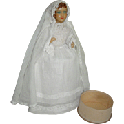 First Communion Candy Container Wax Doll from France!