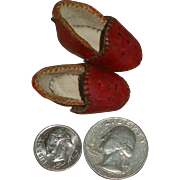 Tiny Leather French Doll's Bedroom Slippers!