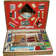 Fabulous French Child's Sewing Box LOADED!